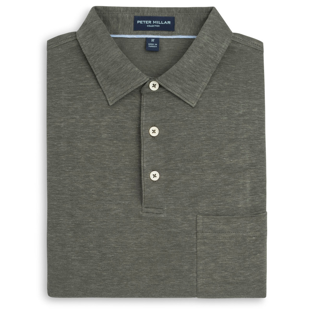 Summertime Linen Polo with Self Collar in Terrano by Peter Millar