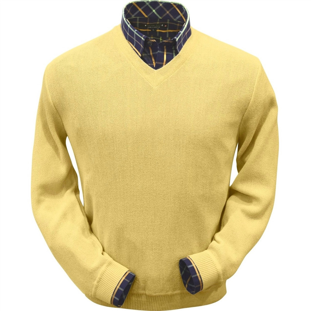 Baby Alpaca Link Stitch V-Neck Sweater in Yellow (Size X-Large) by Peru Unlimited