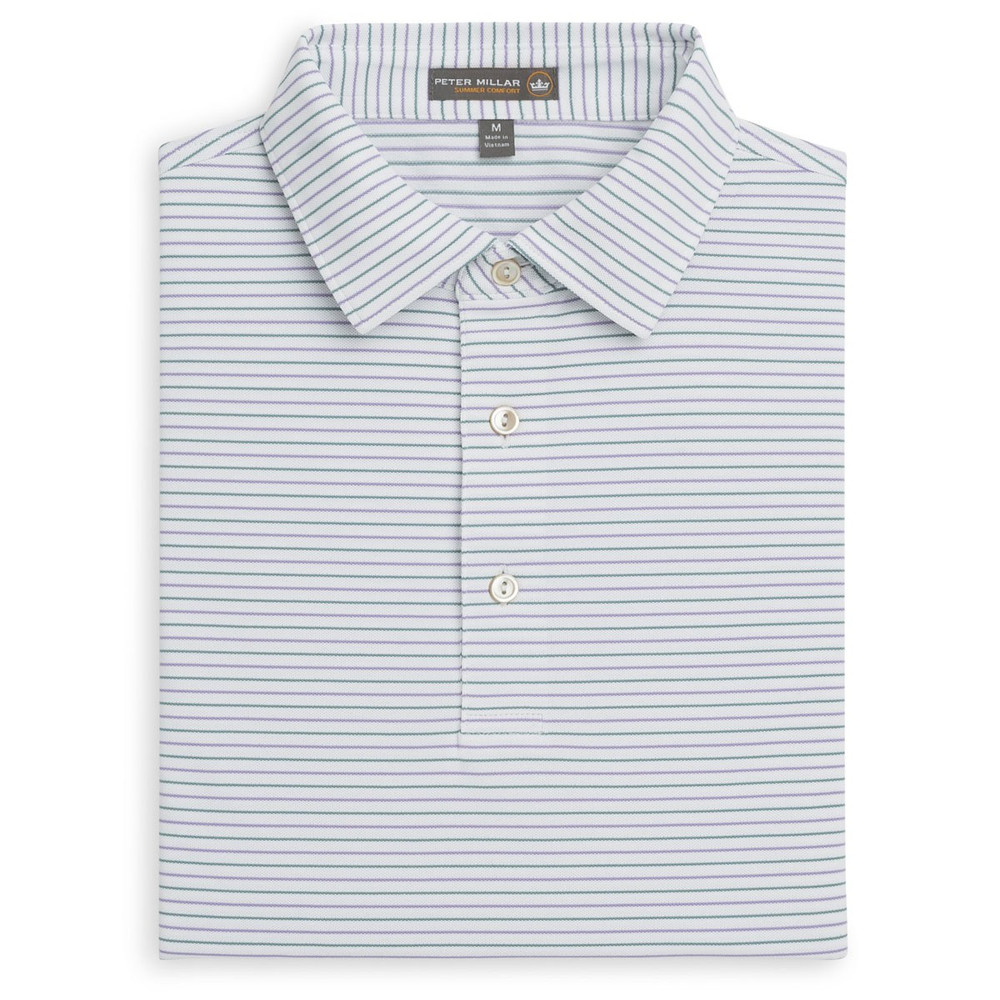 Peace Stripe Stretch Mesh 'Crown Sport' Performance Polo with Sean Self Collar in White and Fish Trap by Peter Millar