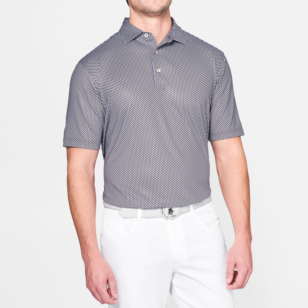 Mordecai Printed Flower Medallion Stretch Jersey 'Crown Sport' Performance Polo with Sean Self Collar in Black by Peter Millar
