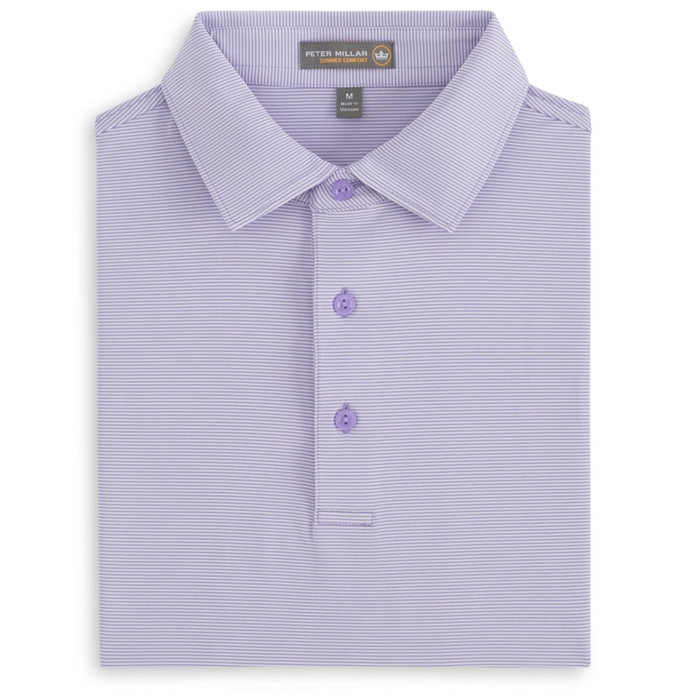 Jubilee Stripe Stretch Jersey 'Crown Sport' Performance Polo with Sean Self Collar in Muscadine by Peter Millar