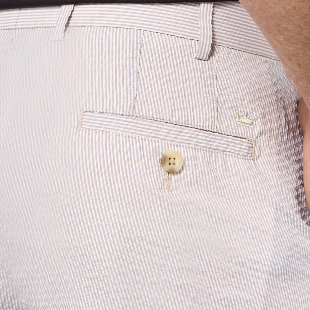 Apex Seersucker Pin Stripe Performance Short in Khaki by Peter Millar