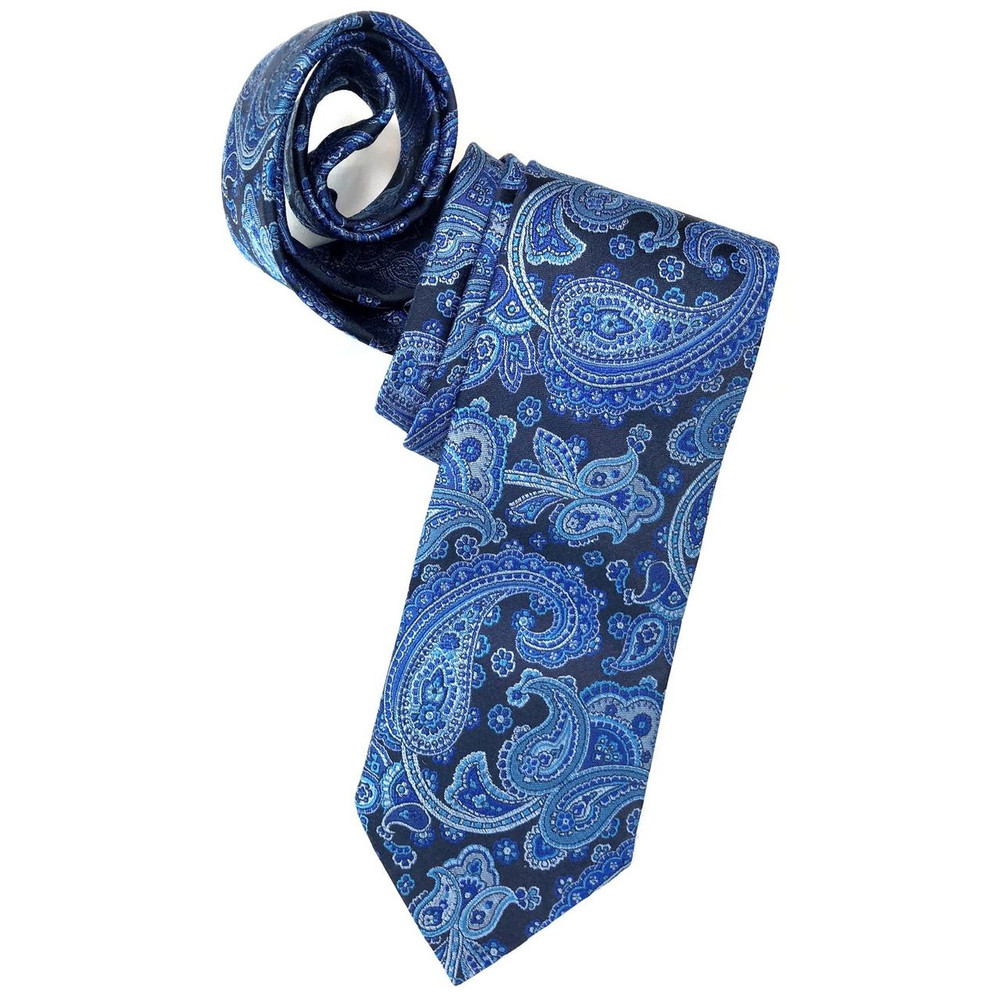 Spring 2018 Best of Class Multi Blue Paisley 'Italian Super Jacquard' Woven Silk Tie by Robert Talbott