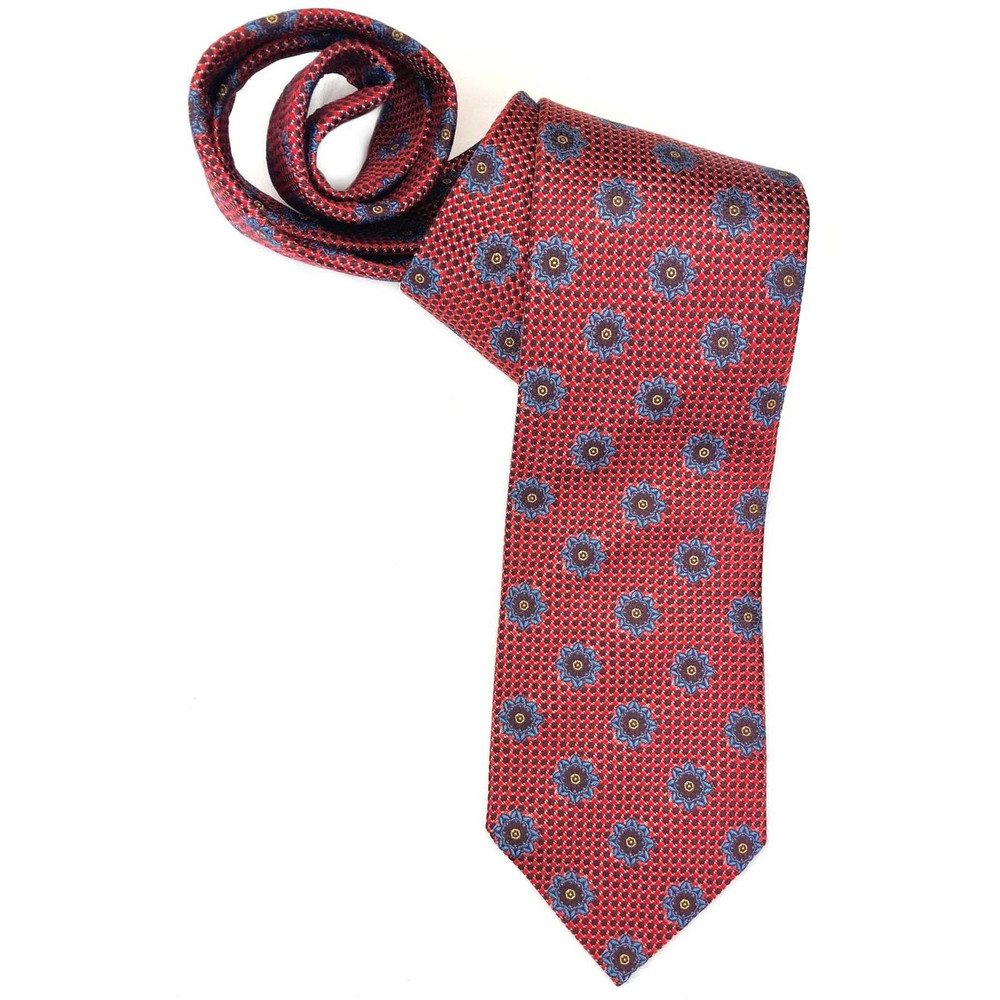 Spring 2018 Best of Class Red and Blue Medallion 'Italian Super Jacquard' Woven Silk Tie by Robert Talbott