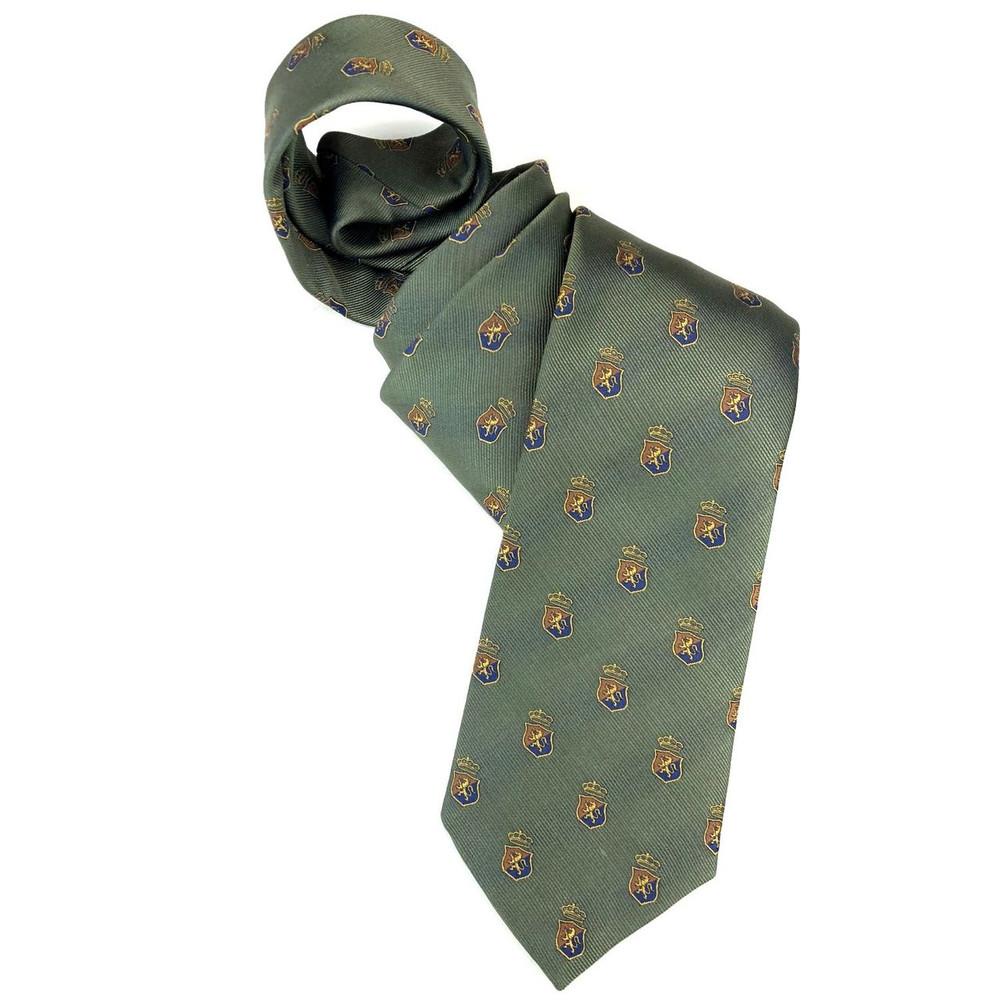 Green, Blue, and Brown Subtle Stripe Lion Crest Silk  Club Tie by Robert Jensen
