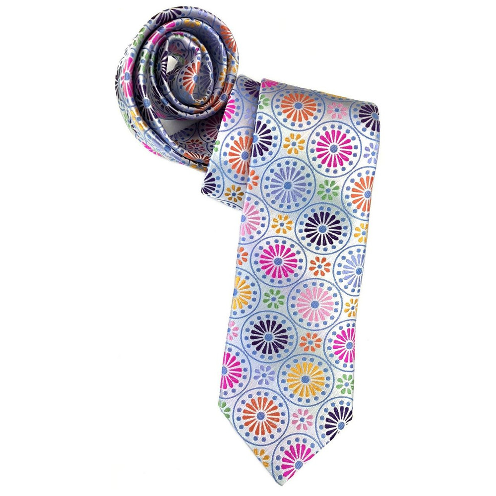 Spring 2018 Best of Class White and Multi Sunburst 'Welch Margetson' Woven Silk Tie by Robert Talbott (Regular length Only)