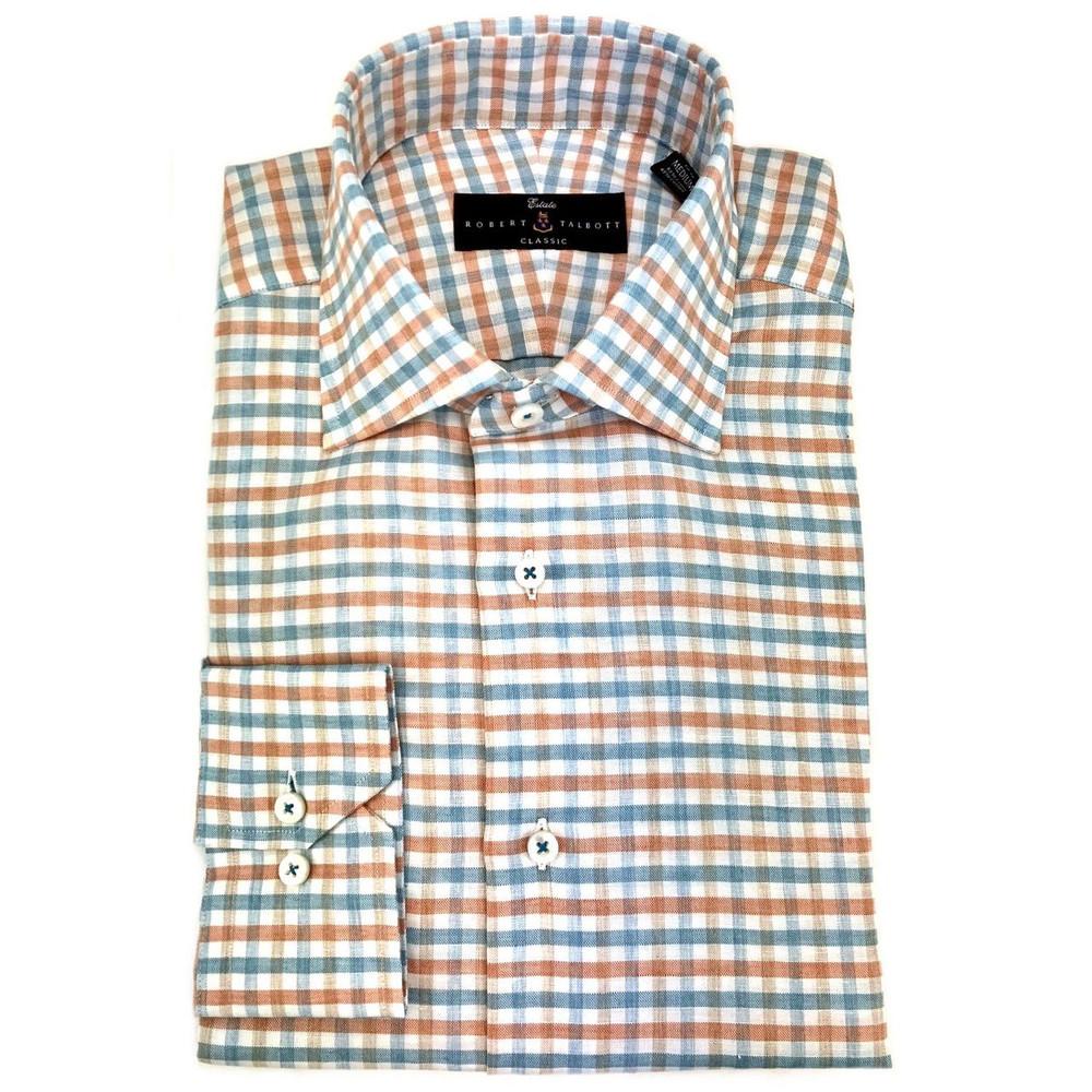 Papaya Lux Linen and Cotton Blend Mélange Check Estate Dress Shirt by Robert Talbott
