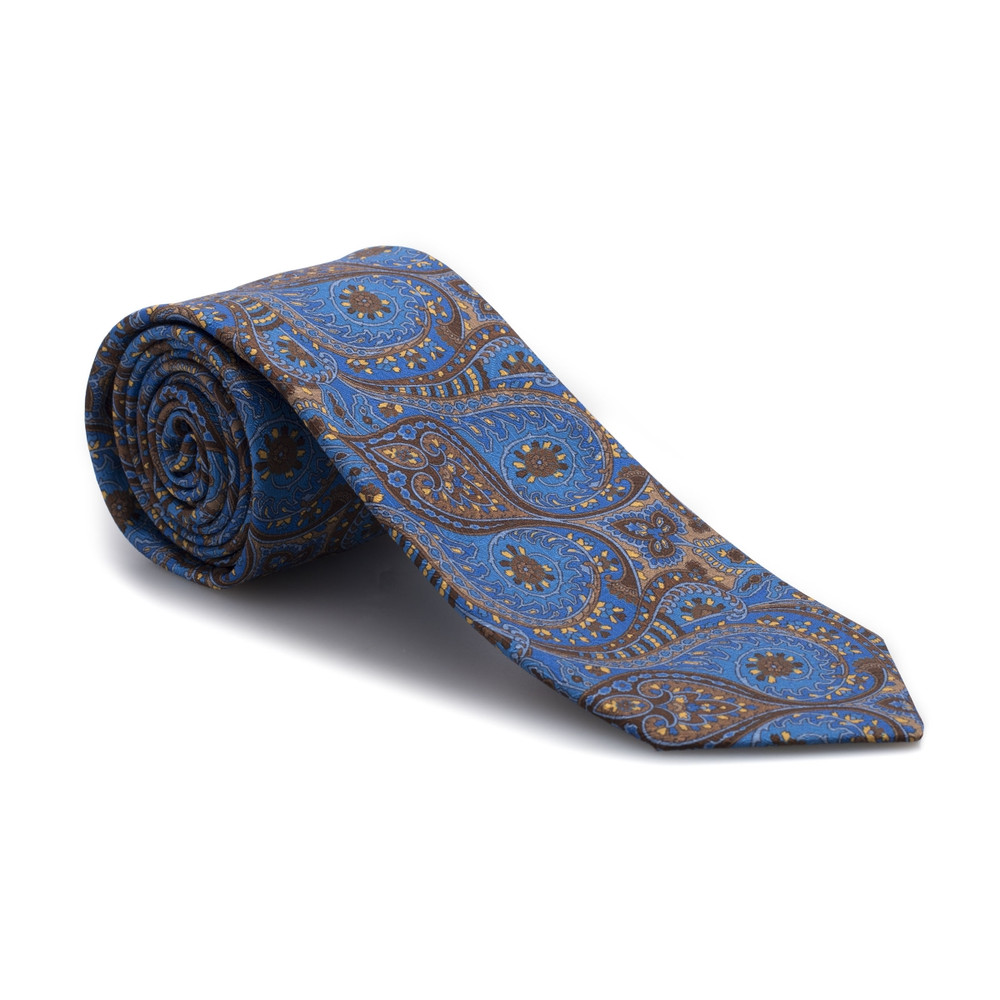 Best of Class Blue and Brown Paisley 'Carmel Print' Woven Silk Tie by Robert Talbott
