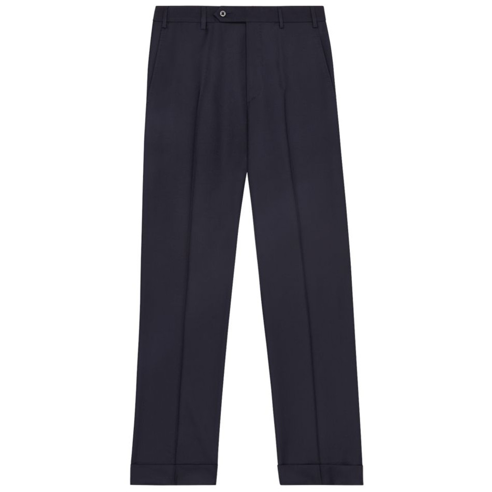 'Todd' Flat Front Luxury 120's Wool Serge Pant in Navy by Zanella