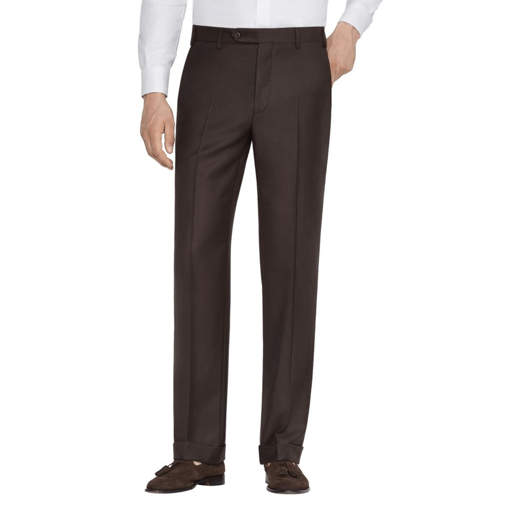 'Todd' Flat Front Luxury 120's Wool Serge Pant in Chocolate Brown by Zanella