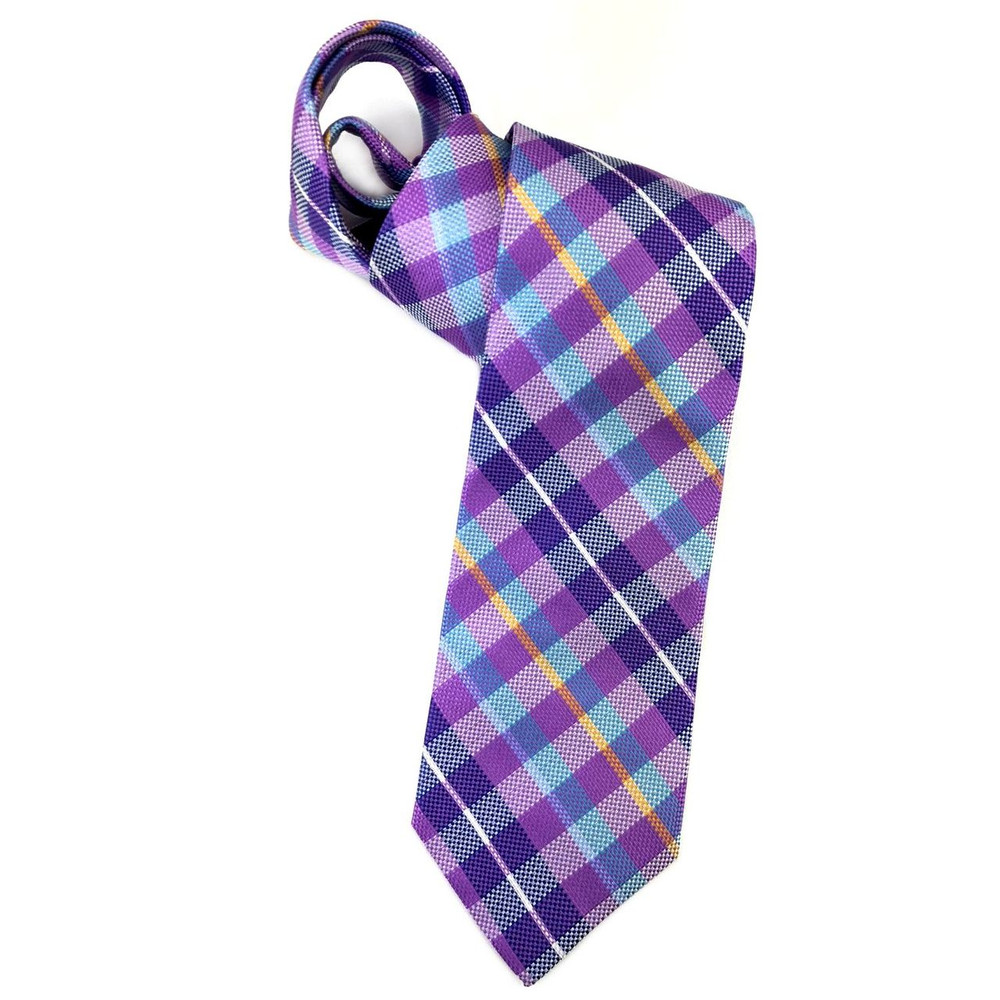 Spring 2018 Best of Class Lilac and Blue Plaid 'Seasonal' Woven Silk Tie by Robert Talbott