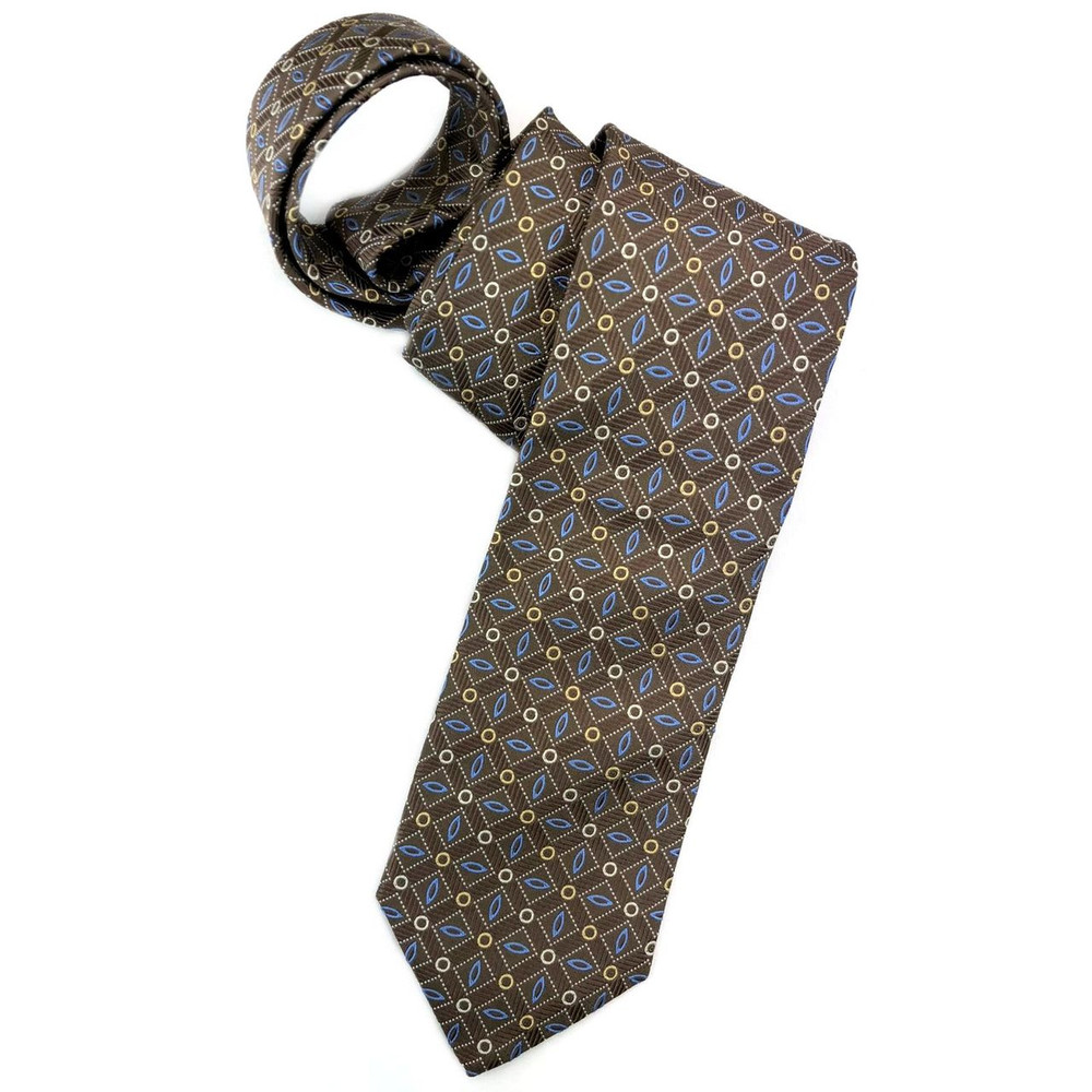 Spring 2018 Best of Class Brown and Blue Geometric 'English Super Jacquard' Woven Silk Tie by Robert Talbott