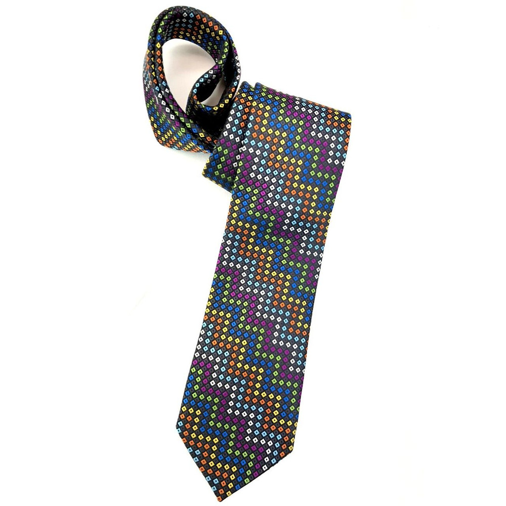 Spring 2018 Best of Class Charcoal and Multi Diamond Dot 'Welch Margetson' Woven Silk Tie by Robert Talbott