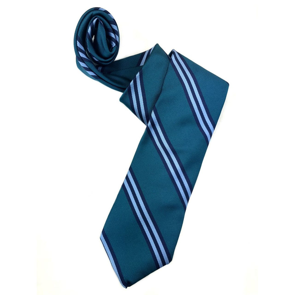 Spring 2018 Teal, Sky, and Navy Stripe 'Ambassador' Woven Silk Estate Tie by Robert Talbott
