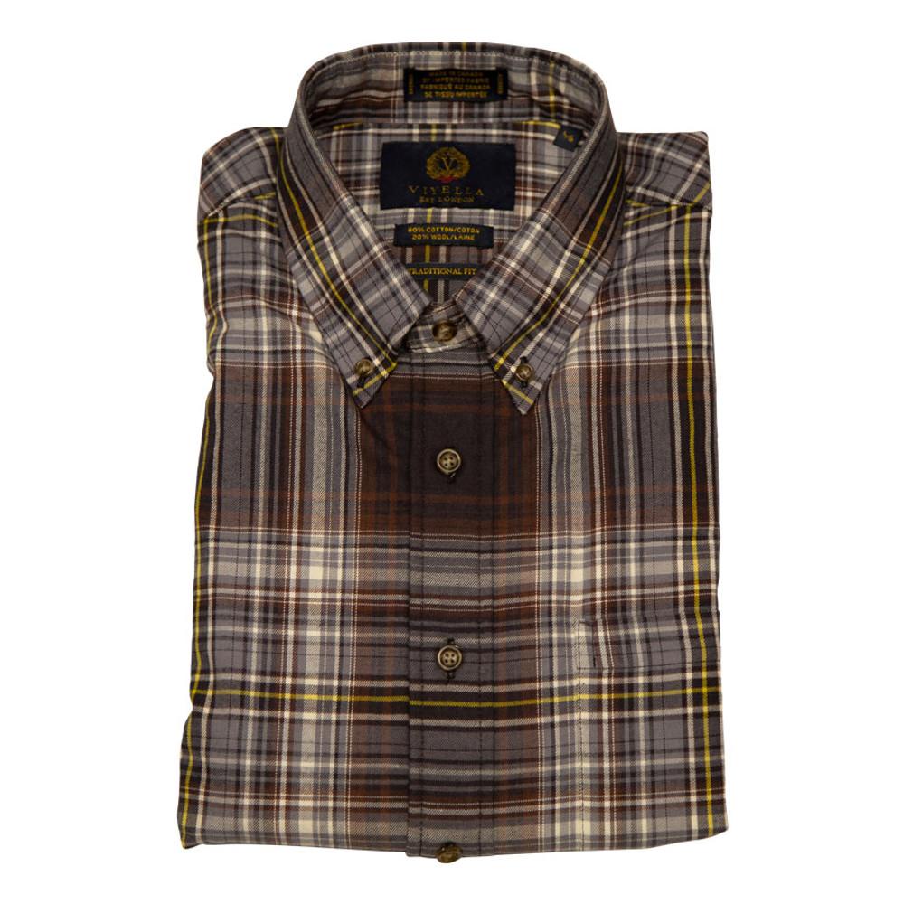 Brown Plaid Button-Down Shirt by Viyella