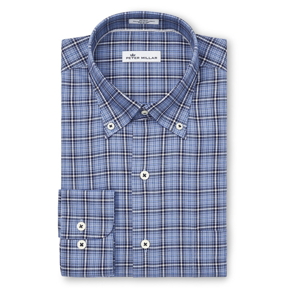 Crown Fleece Briar Hill Tartan Sport Shirt in Cottage Blue by Peter Millar