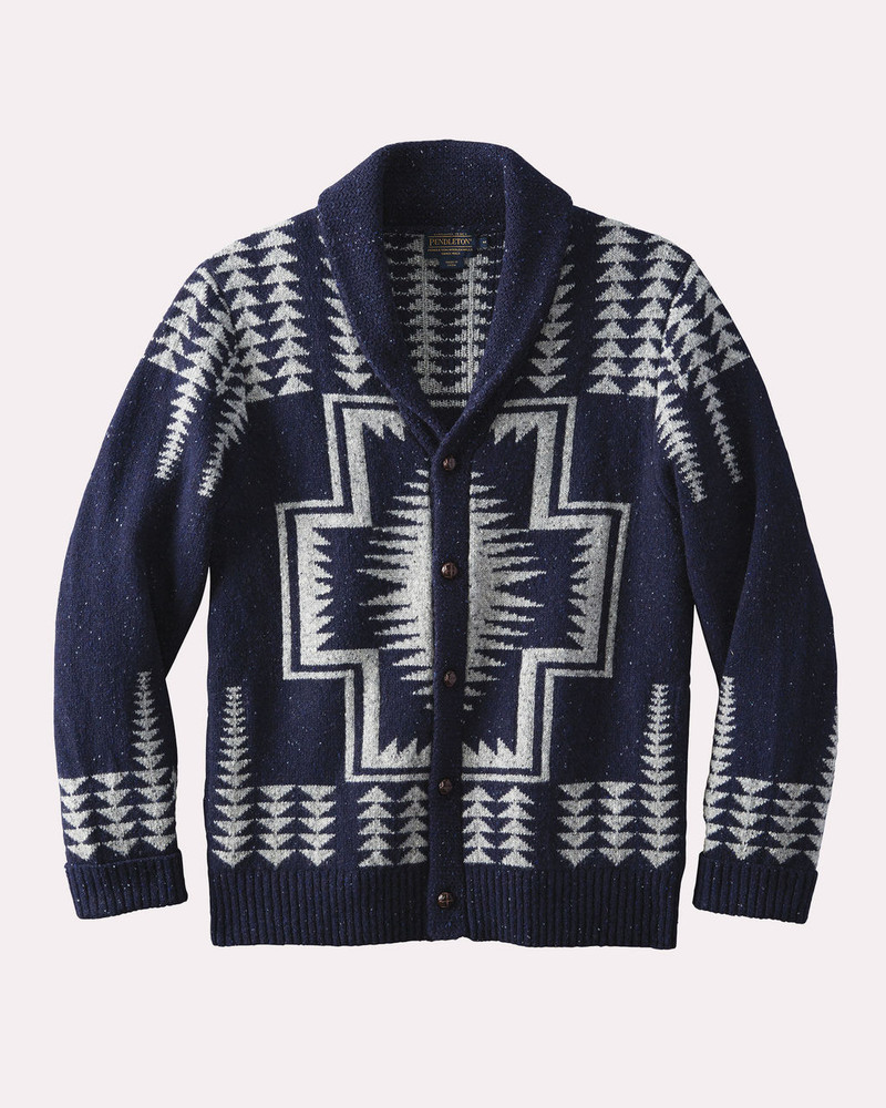 Harding Shawl-Collar Cardigan Sweater in Navy and Grey by Pendleton