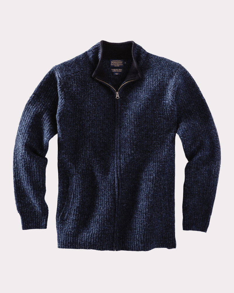 Shetland Full Zip Cardigan Sweater in Indigo Heather by Pendleton