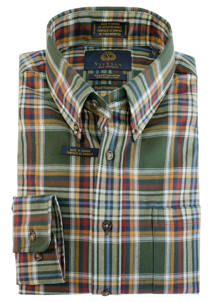 Brunswick Green Plaid Button-Down Shirt by Viyella