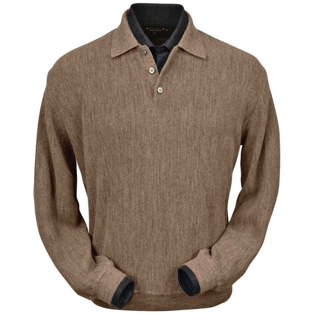 Baby Alpaca Link Stitch Polo Sweater with Ribbed Bottom in Taupe Heather by Peru Unlimited