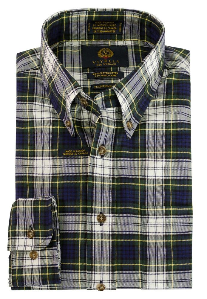 Blue and Green Plaid Button-Down Shirt by Viyella
