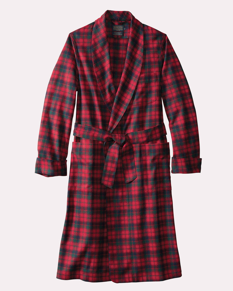 Washable Whisperwool Lounge Robe in Red Robertson Tartan by Pendleton