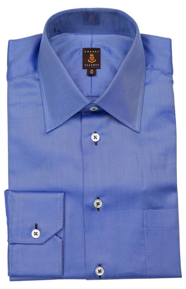 Blue Diagonal Twill 'Made in Monterey' Dress Shirt by Robert Talbott