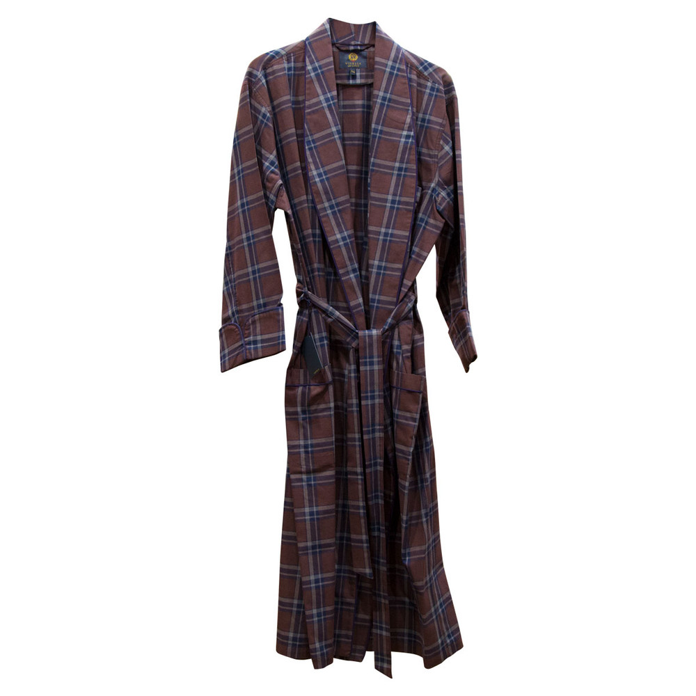 Gentleman's Genuine Cotton and Wool Blend Robe in Chambray by Viyella
