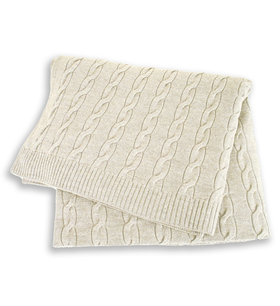 Pure Merino Wool Cable Knit Bed Throw in Chalk Marl by St. Croix