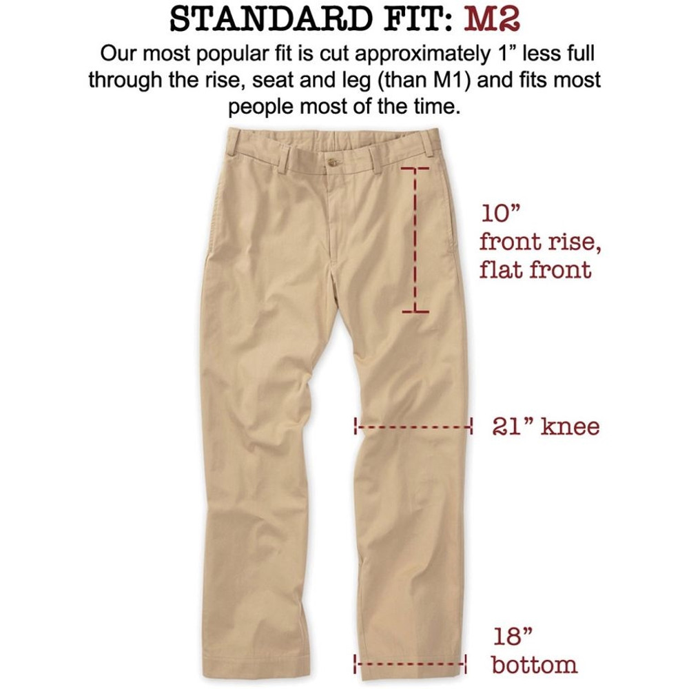 Original Twill Pant - Model M2 Standard Fit Plain Front in Fatigue (Sizes 32 and 42 Only) by Bills Khakis