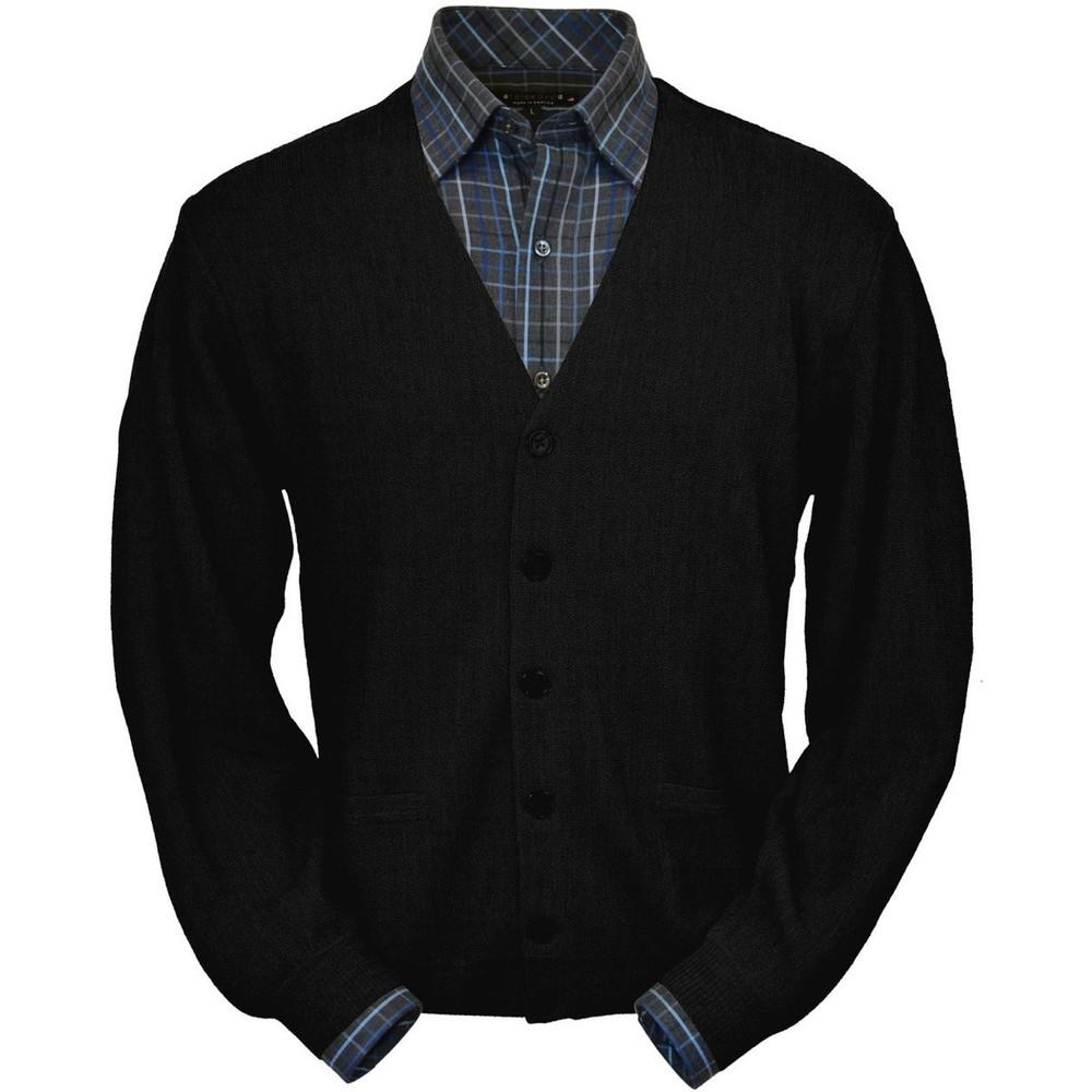 Baby Alpaca Link Stitch Cardigan Sweater in Black by Peru Unlimited