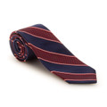 Best of Class Navy and Red Stripe 'Heritage' Woven Silk Tie by Robert Talbott