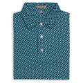 Diced Printed Pine Stretch Mesh 'Crown Sport' Performance Polo with Sean Self Collar in Maui Blue (Size Medium) by Peter Millar