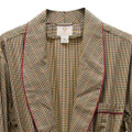 Gentleman's Cotton and Wool Blend Robe in Tan and Navy Check with Red Piping by Viyella