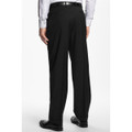 'Bennett' Double Reverse Pleat Luxury 120's Wool Serge Pant in Black by Zanella