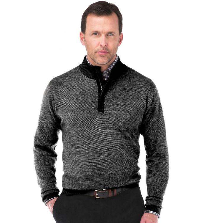 Merino Wool Textured Quarter-Zip Sweater in Black by Peter Millar