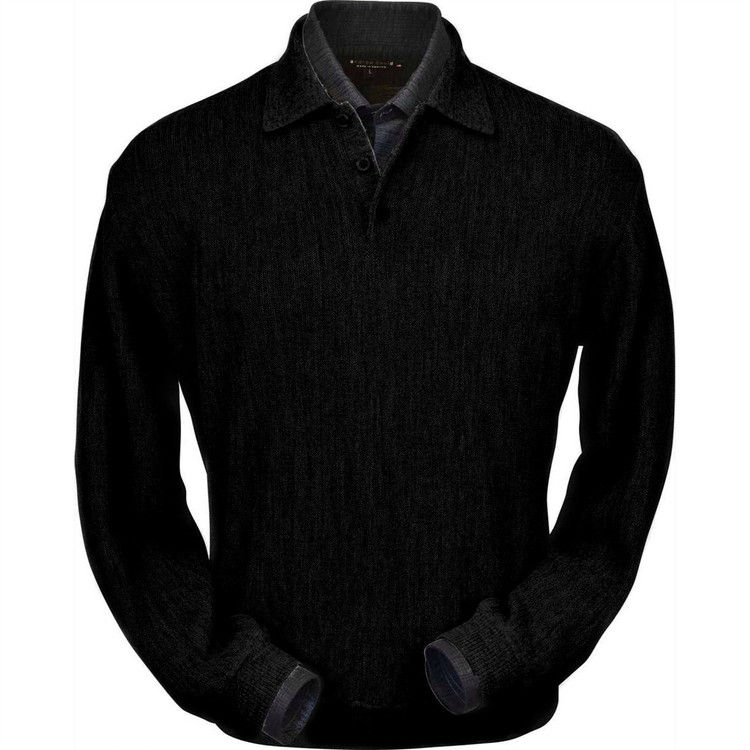 Baby Alpaca Link Stitch Polo Sweater with Ribbed Bottom in Black by Peru Unlimited