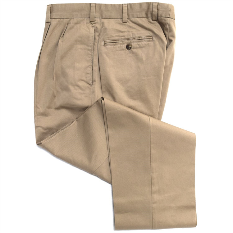 Vintage Twill Pant - Model F2P Standard Fit Reverse Pleat in British Tan by Hansen's Khakis