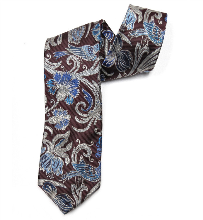 Maroon and Blue Botanical Seven Fold Silk Tie by Robert Talbott
