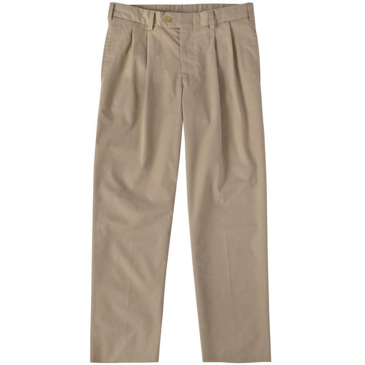 Travel Twill Pant - Model M2P Standard Fit Reverse Pleat in Khaki by Bills Khakis