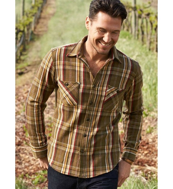 Pawpine Shirt in Olive Multi Plaid (Size Medium) (Thomas Kay Collection) by Pendleton