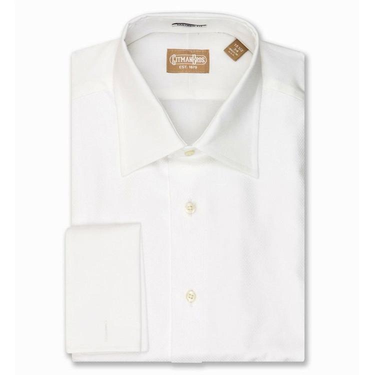 Spread Collar Diamondweave Bib Formal Tuxedo Shirt (Size 17 1/2 - 36) by Gitman Brothers
