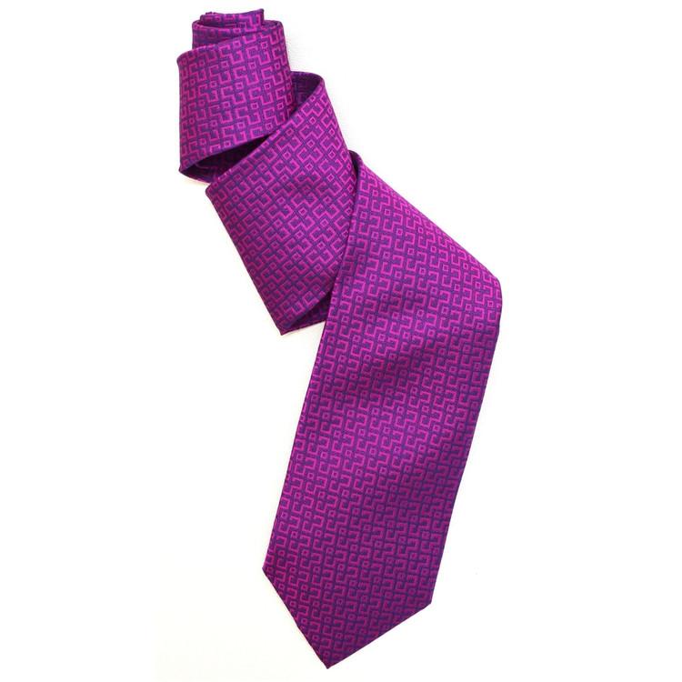 Best of Class Raspbery and Navy 'Spanish Bay' Woven Silk Tie by Robert Talbott