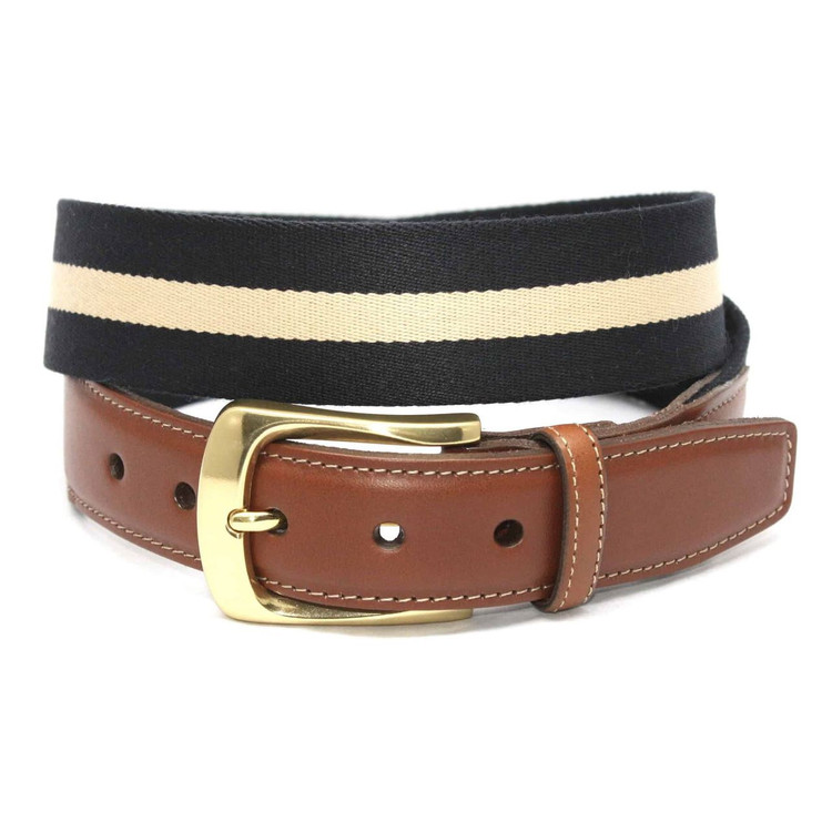 European Ribbed Striped Surcingle Belt in Navy/Camel by Torino Leather Co.