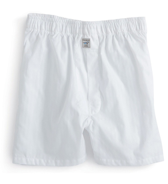 Herringbone Solid Cotton Boxer in White by Peter Millar