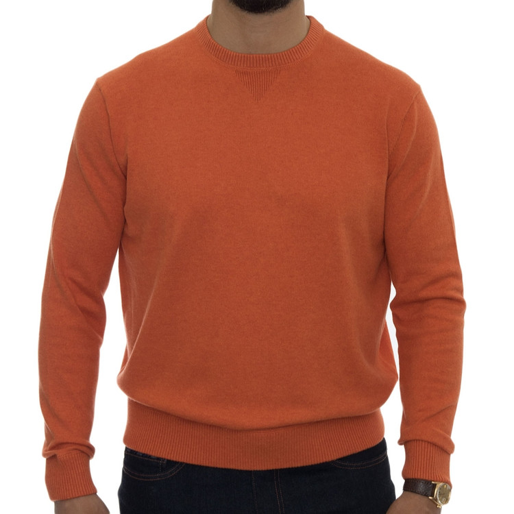 'Williams' Performance Cotton Cashmere Crewneck Sweater in Ember by Robert Talbott