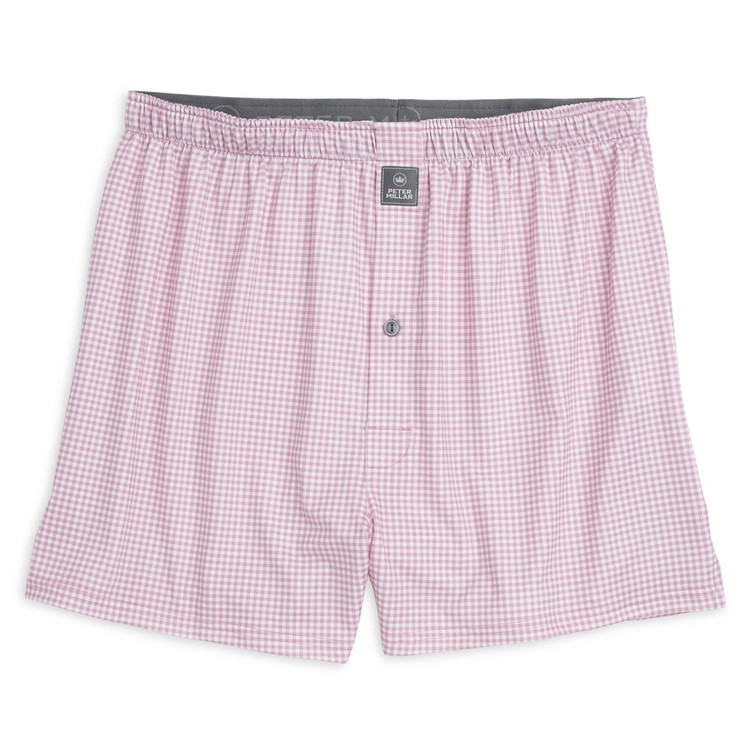 Nebraska Printed Gingham Stretch Jersey Performance Boxer in Piglet Pink by Peter Millar