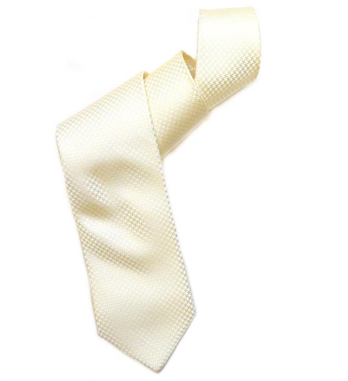 Ivory and Cream Houndstooth 'Robert Talbott Protocol' Hand Sewn Woven Silk Tie by Robert Talbott