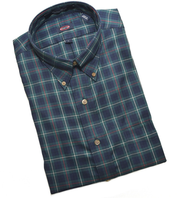 Navy and Green Plaid Button-Down Wrinkle Free Sport Shirt by Overton