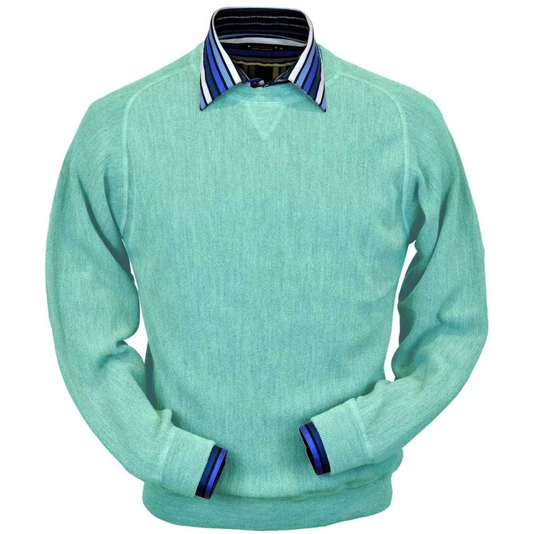 Baby Alpaca Link Stitch Sweatshirt Style Sweater in Aqua Heather by Peru Unlimited